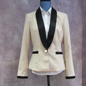 NEW Forever 21 Tan & Black Satin Trim Blazer Sz 12